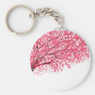 Körsbärblommar och grenar rund nyckelring