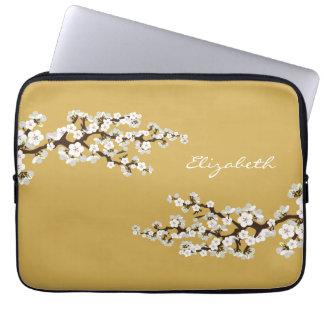 Körsbäret blomstrar den Sakura laptop sleeve (guld Datorskydd