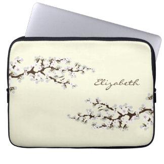 Körsbäret blomstrar den Sakura laptop sleeve (vit) Laptop Datorfodral
