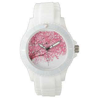 Körsbäret blomstrar och förgrena sig klockan