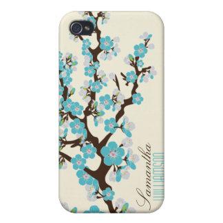 Körsbärsröd blommar 4 (aqua) iPhone 4 skal