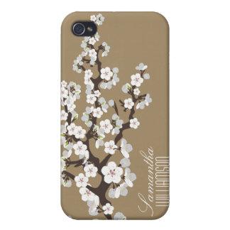 Körsbärsröd blommar 4 (choklad) iPhone 4 cases