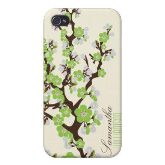 Körsbärsröd blommar 4 (grönt) iPhone 4 skal