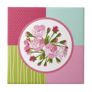 Körsbärsröd blommar kakelplatta