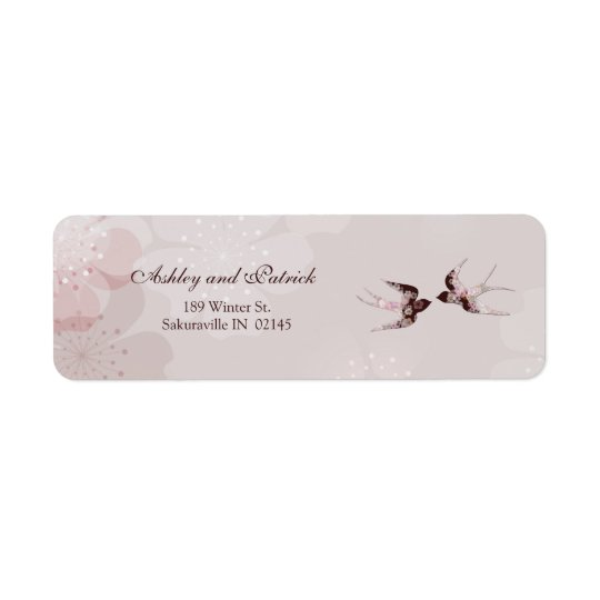 Körsbärsröd blommar och blom- svalaadressetikett returadress etikett