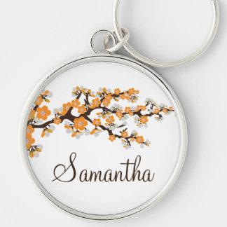 Körsbärsröd blommar skräddarsy Keychain (orangen) Rund Silverfärgad Nyckelring