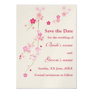 Körsbärsröd blommarbröllopinbjudan 12,7 x 17,8 cm inbjudningskort