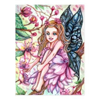 Körsbärsröd blommarfe vykort