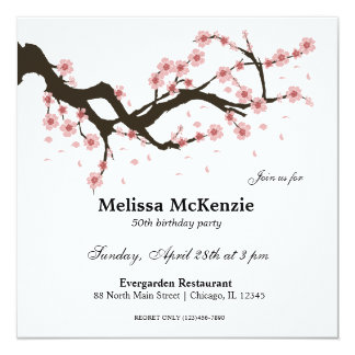 Körsbärsröd blommarfödelsedagsfest fyrkantigt 13,3 cm inbjudningskort