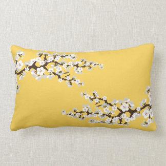 Körsbärsröd blommarSakura dekorativ kudde (gult)