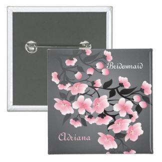 Körsbärsröd brudtärna för blommar (Sakura) Standard Kanpp Fyrkantig 5.1 Cm