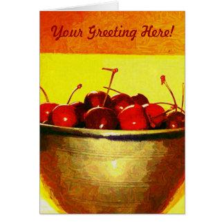 Körsbärsröd bunke hälsningskort