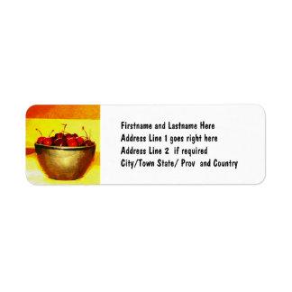 Körsbärsröd bunke returadress etikett