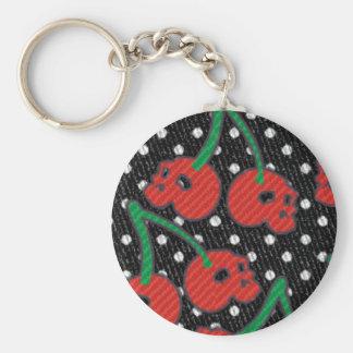 Körsbärsröd döskallar som är röd på svart rund nyckelring