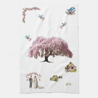 Körsbärsröd för brudTea för blommar C22 handduk Kökshandduk