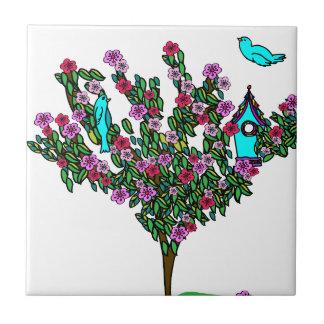 Körsbärsröd glädje för fred för kärlek för liten kakelplatta