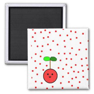 Körsbärsröd magnet med röd polka dots