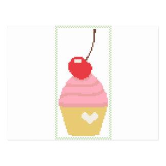 körsbärsröd muffin vykort