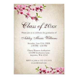 Körsbärsröd studenten för blommarvintagesolbränna 12,7 x 17,8 cm inbjudningskort