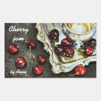 körsbärsröd sylt - körsbär på silvermagasinet rektangelformat klistermärke