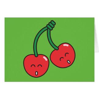 Körsbärsröd twillingar hälsningskort