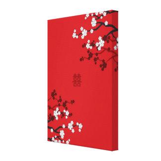 Körsbärsröda blommar dubblerar kinesiskt bröllop canvastryck