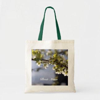 körsbärsröda blommor för vårvit, mors daggifts. tygkasse