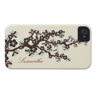 Körsbärsrött blommarblackberry boldfodral (svarten Case-Mate iPhone 4 case