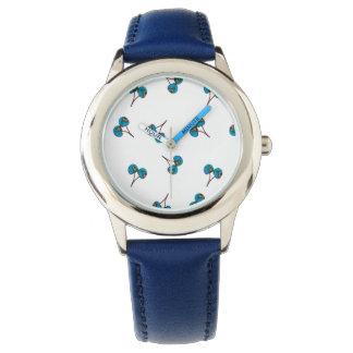 Körsbärsrött mönster för blått armbandsur