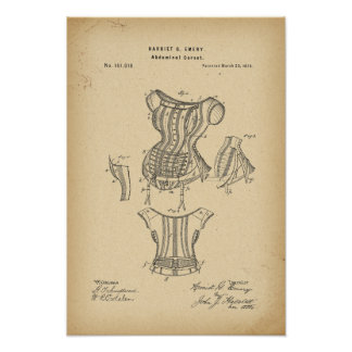 Korsett för 1875 patent poster