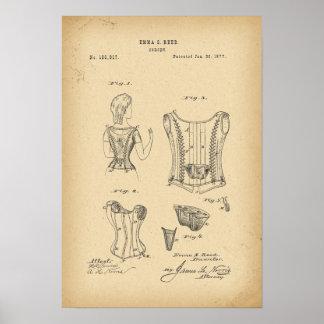 Korsett för 1877 patent poster