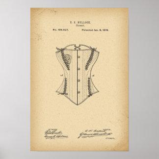 Korsett för 1878 patent poster