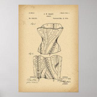 Korsett för 1884 patent poster