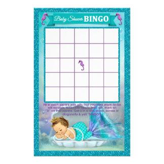 Kort #130 för lek för sjöjungfrubaby showerBingo Reklamblad 14 X 21,5 Cm