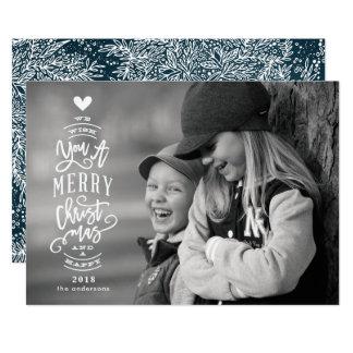 Kort 2018 för foto för bokstävergod jullycklig 12,7 x 17,8 cm inbjudningskort