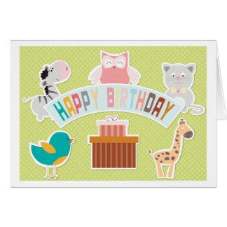 Kort 4 för grattis på födelsedagentecknaddjur