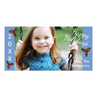 Kort för 3 lyckligt Helgdagar-Jul för järnekblått