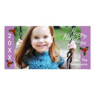 Kort för 3 purpurfärgat lyckligt Helgdagar-Jul för Fotokort