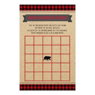 Kort för Bingo för Lumberjackpojkebaby shower Reklamblad 14 X 21,5 Cm