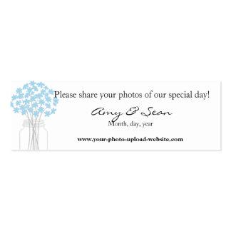 Kort för blåttblommakortkort set av smala visitkort