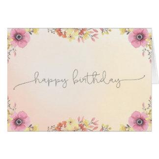 Kort för blommavattenfärggrattis på födelsedagen