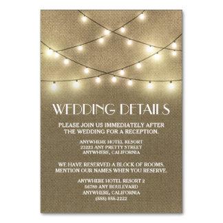 Kort för boende för Burlapbröllopmottagande