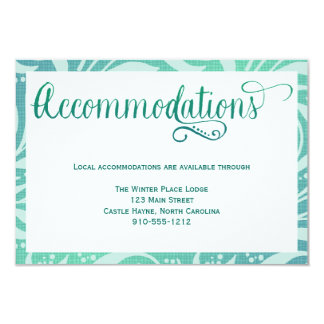 Kort för boenden för bröllop för havsgrässtrand 8,9 x 12,7 cm inbjudningskort