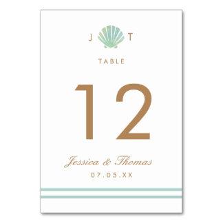 Kort för bord för bröllop för snäckavattenfärgAqua