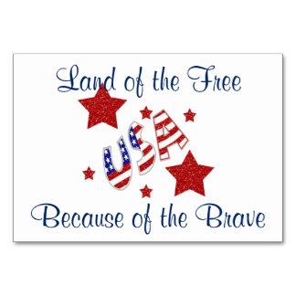 Kort för bord för tackveteran patriotiska