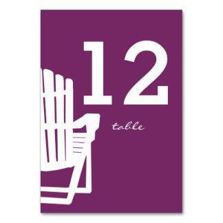 Kort för bordsnummer för Adirondack stolplommon