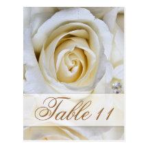 Kort för bordsnummer för mottagande för vitbröllop vykort