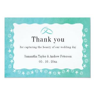 Kort för bröllop för tack för turkoshavsgräns 8,9 x 12,7 cm inbjudningskort