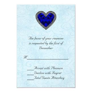 Kort för bröllop OSA för blåttGemstonehjärta 8,9 X 12,7 Cm Inbjudningskort