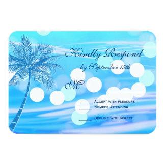 Kort för bröllop OSA för palmträdstranddestination 8,9 X 12,7 Cm Inbjudningskort